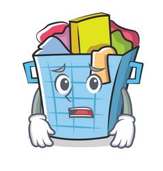 Afraid laundry basket character cartoon vector