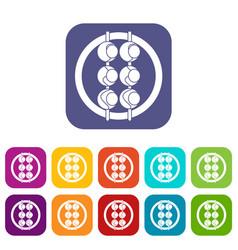 asian shashlik icons set flat vector image vector image