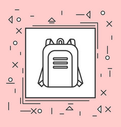Backpack icon thin line in pink frame vector