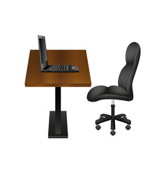 Black chair and laptop on wooden desk vector