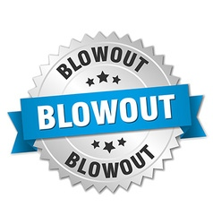 Blowout 3d silver badge with blue ribbon vector