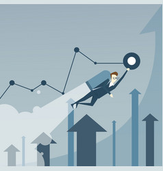business man with jet pack over finance graph vector image