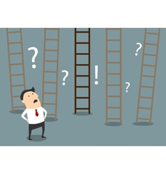 Businessman choosing ladder to success vector image vector image