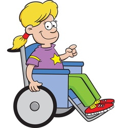 Cartoon girl in a wheelchair vector