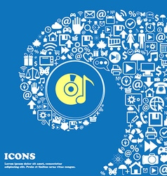 Cd player icon sign nice set of beautiful icons vector