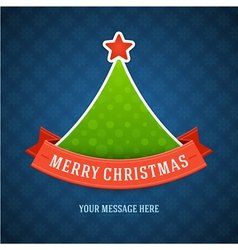 Christmas green tree and ribbon vector image vector image