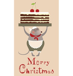 Christmas mouse with cake vector image vector image