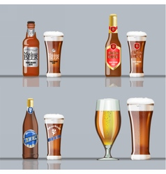 Digital brown beer set mockup vector image
