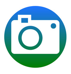 digital camera sign white icon in bluish vector image vector image