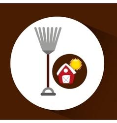 farm countryside rake tool design vector image