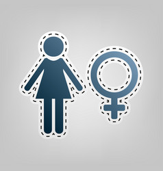 Female sign blue icon with vector