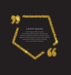 Gold quotation mark speech bubble vector