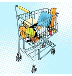 Grocery trolley with food vector