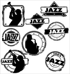 grunge jazz musician stamps vector image vector image