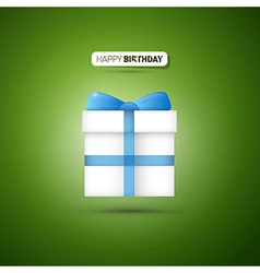 Happy Birthday Green Background Present With Blue vector image vector image