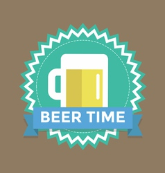 Label with text beer time vector image