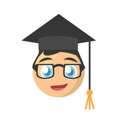 Male graduate emoticon cartoon design vector