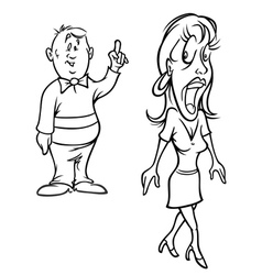 Man flirting with woman bw vector