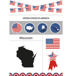 map of wisconsin set of flat design icons vector image vector image