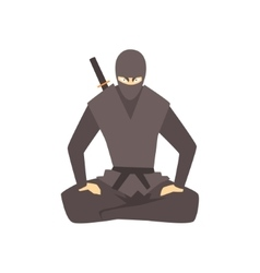 Ninja wearing full black covering clothes martial vector