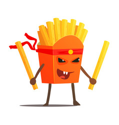 Pack of fries with two sticks karate fighter fast vector