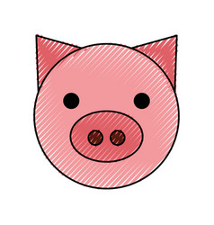 Pig head farm icon vector