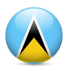 Round glossy icon of saint lucia vector