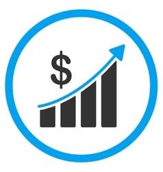 Sales bar chart circled icon vector