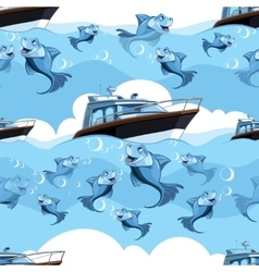 seamless pattern with blue fish and yacht in the vector image vector image