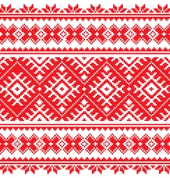 Seamless Ukrainian folk red embroidery pattern vector image vector image