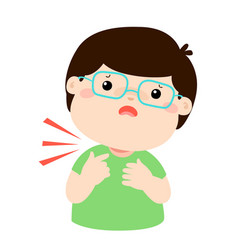 Sick boy sore throat cartoon vector