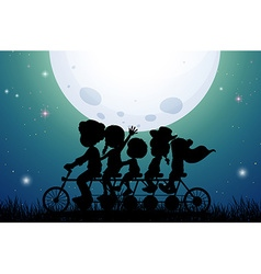 Silhouette people riding bike at night vector