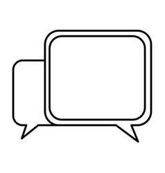 silhouette square chat bubbles icon vector image