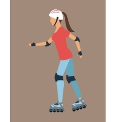 Woman walking with roller skates and protection vector