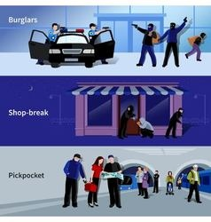 Burglar icons banners vector