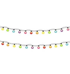 Multicolored garland lamp bulbs festive on white vector