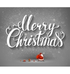 Merry christmas inscription and santa claus with vector