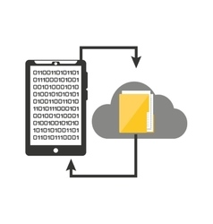 Smartphone transfer cloud data folder vector