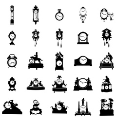 Clock of different shapes Silhouette vector image
