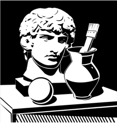 Apollo head jug and brush vector image