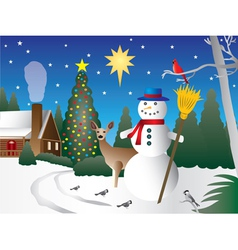 Snowman in christmas scene vector