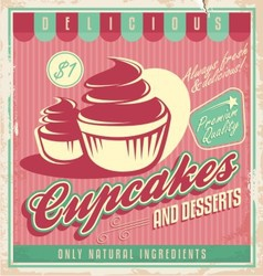 Cupcakes vintage poster design vector