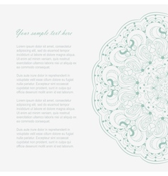 Beautiful winter color lace ornament for card vector
