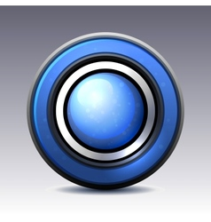 Blue shiny button with metallic elements vector