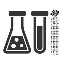 Chemistry icon with work bonus vector