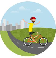 Biker riding bicycle vector