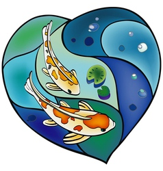 Carp pond in the shape of heart vector