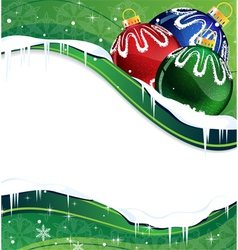 Christmas balls decoration on a green background vector