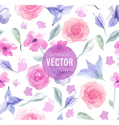 Watercolor rose seamless pattern vector