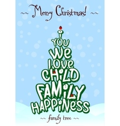Christmas family love tree typography card design vector